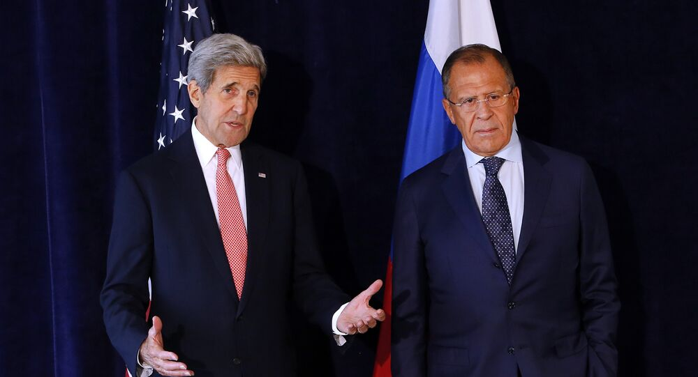 US Secretary of State John Kerry, left, meets with Russian Foreign Minister Sergey Lavrov, Sunday, Sept. 27, 2015, in New York