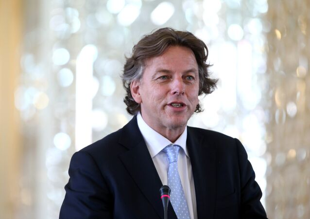 Dutch Foreign Minister Bert Koenders speaks during a press conference with his Iranian counterpart Mohammad Javad Zarif, in Tehran, Iran, Sunday, Sept. 20, 2015