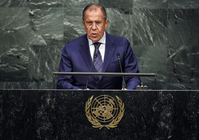Russian Foreign Minister Sergey Lavrov speaks to the United Nations Sustainable Development Summit at the United Nations General Assembly in New York on September 27, 2015