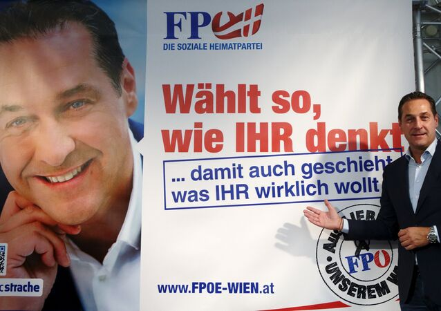 Head of Austrian Freedom Party (FPOe) Heinz-Christian Strache presents an election campaign poster in Vienna, Austria, September 24, 2015. Regional elections take place in Vienna on October 11, 2015
