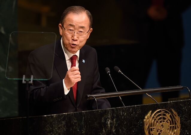 United Nations Secretary general Ban Ki-moon speaks at the 70th session of the United Nations General Assembly September 28, 2015 at the United Nations in New York