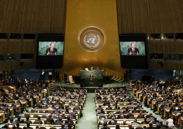United Nations Secretary General Ban Ki-moon addresses attendees during the 70th session of the United Nations General Assembly at the U.N. Headquarters in New York, September 28, 2015