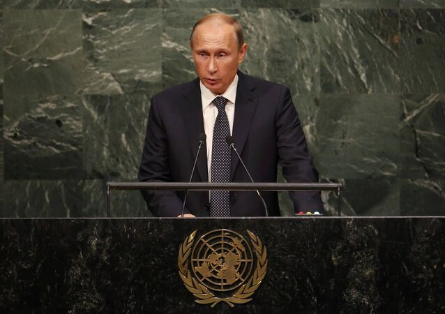 Russian President Vladimir Putin addresses attendees during the 70th session of the United Nations General Assembly at the U.N. Headquarters in New York, September 28, 2015