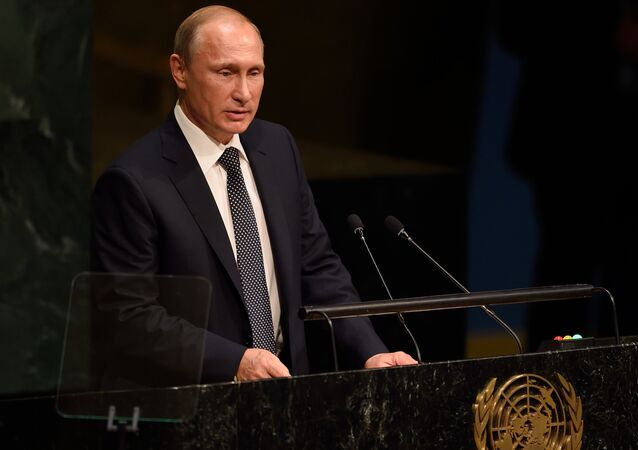 Russia's President Vladimir Putin addresses the 70th session of the United Nations General Assembly September 28, 2015 at the United Nations in New York