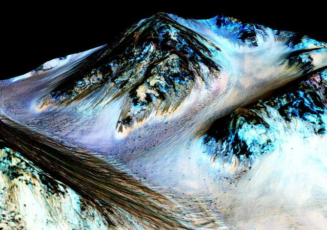 Dark, narrow, 100 meter-long streaks on Mars inferred to have been formed by contemporary flowing water are seen in an image produced by NASA, the Jet Propulsion Laboratory (JPL) and the University of Arizona. Scientists have found the first evidence that briny water may flow on the surface of Mars during the planet's summer months, a paper published on Monday showed