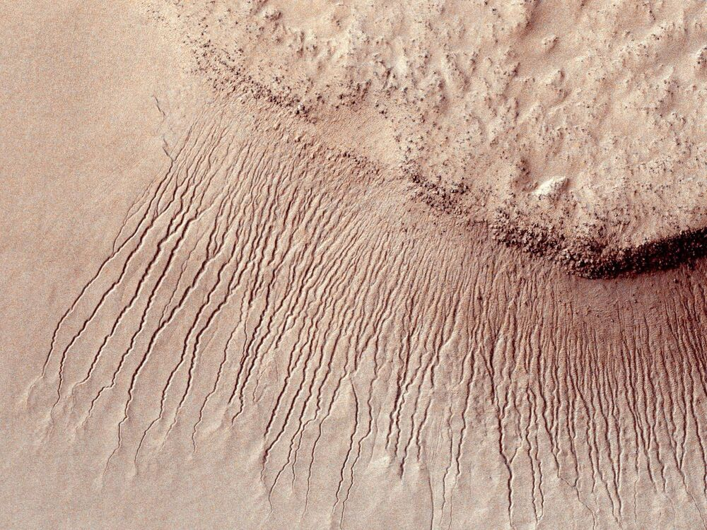 Portions of the Martian surface shot by NASA's Mars Reconnaissance Orbiter show many channels from 1 meter to 10 meters wide on a scarp in the Hellas impact basin, in this photograph taken January 14, 2011 and released by NASA March 9, 2011. Scientists have found the first evidence that briny water may flow on the surface of Mars during the planet's summer months, a paper published on Monday showed