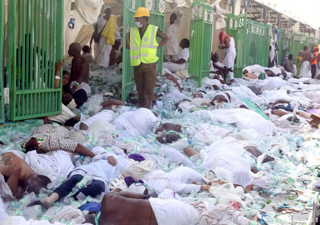 Bodies of Muslim pilgrims are seen after a stampede at Mina, outside the holy Muslim city of Mecca September 24, 2015