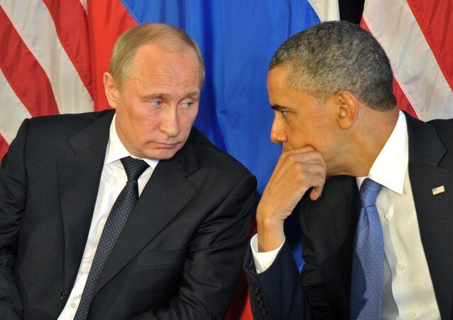 Russian President Vladimir Putin meets US President Barack Obama