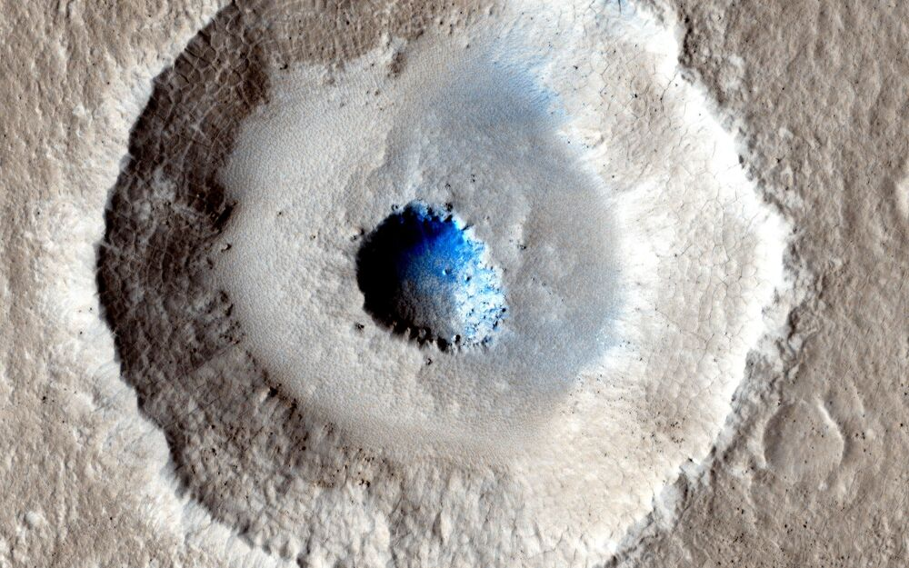 The icy surface of Mars