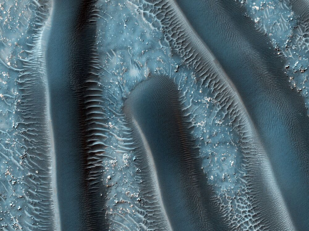 Sand dunes on the surface of Mars