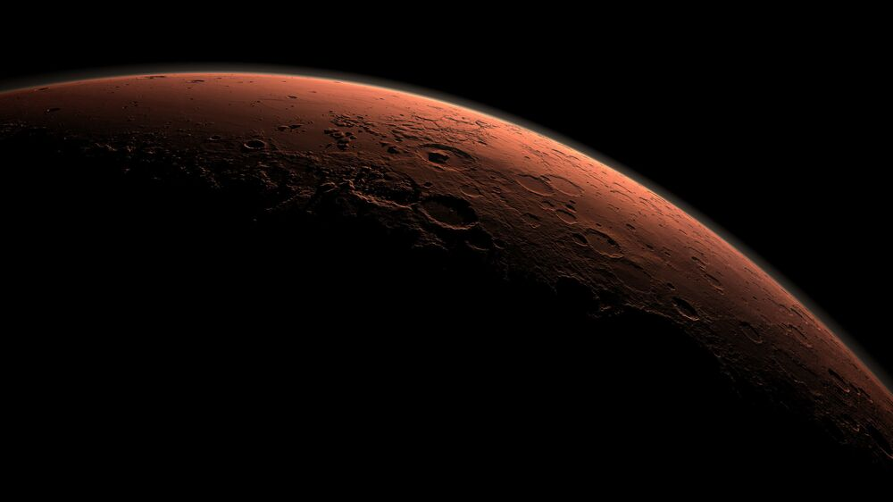 Mars at the boundary between darkness and daylight