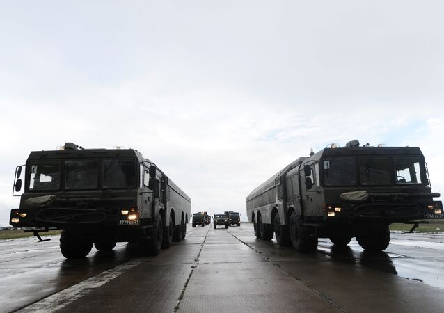 Bastion coastal defense missile system during a rehearsal of the military parade