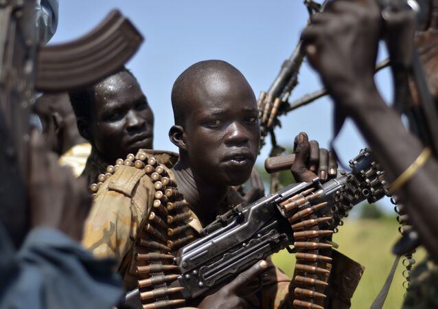 South Sudan government soldiers in the town of Koch, Unity state, South Sudan, Friday, Sept. 25, 2015