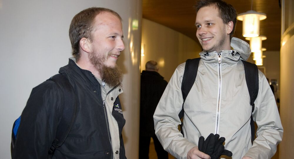 File picture of Pirate Bays internet site founders Gottfrid Svartholm Warg, left, and Peter Sunde, right, arriving for their trial at Stockholm city court in 2009.