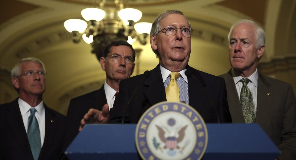 (L-R) Senate Republican leaders Senator Roger Wicker (R-MS), John Barrasso (R-WY), Senate Majority Leader Mitch McConnell (R-KY) and Senate Majority Whip John Cornyn (R-TX) take questions from the media regarding the upcoming budget battle on Capitol Hill in Washington September 29, 2015