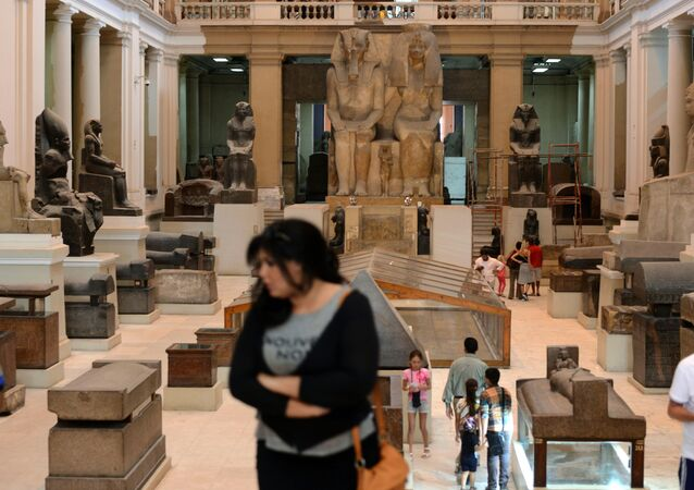 Tourists visit the Egyptian Museum in the capital, Cairo, on June 3, 2015