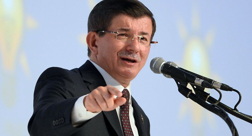 Turkish Prime Minister and Justice and Development Party (AKP) leader Ahmet Davutoglu