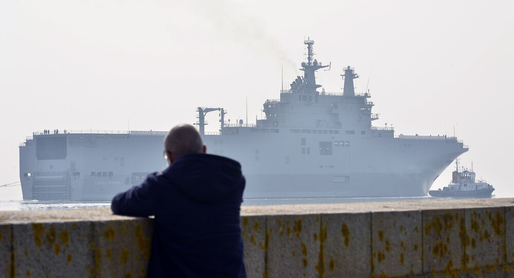This file photo taken on March 16, 2015 off Saint-Nazaire, northwestern France, shows the Sevastopol mistral warship on its way for its first sea trials.