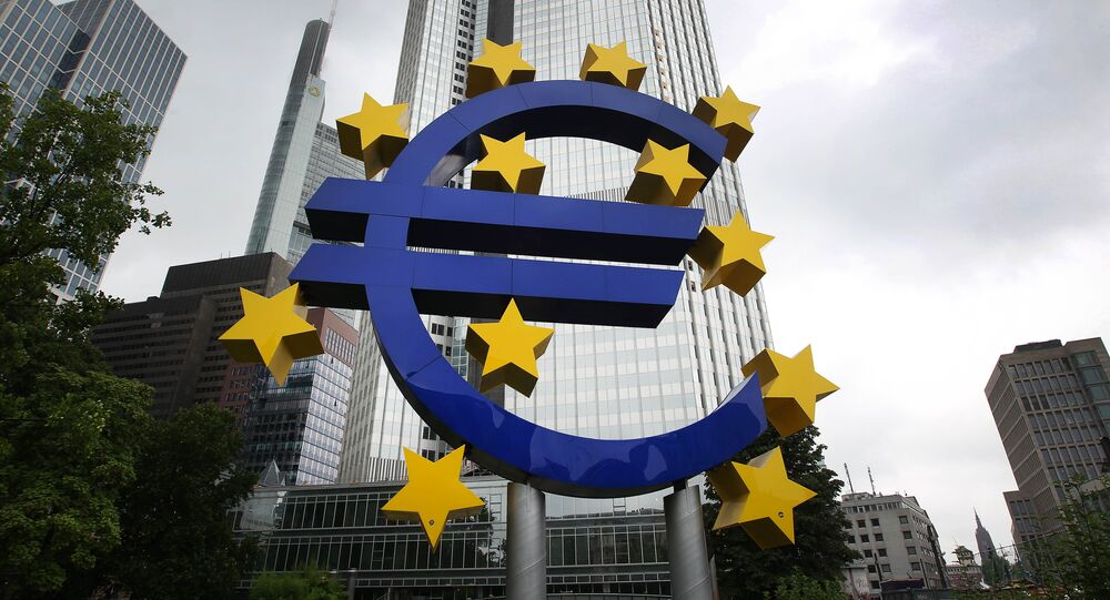 The Euro logo is pictured in front of the former headquarters of the European Central Bank (ECB) in Frankfurt am Main, western Germany, on 20 July 2015.