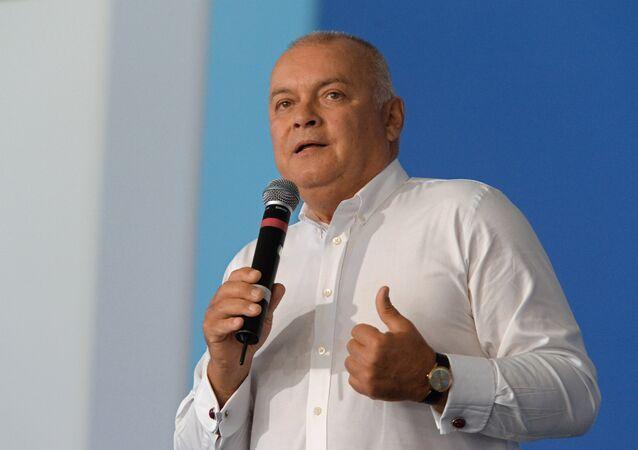 Dmitry Kiselev, CEO, Rossiya Segodnya news agency, speaks at the Territoria smyslov (Territory of Meanings) National Youth Educational Forum on the Klyazma, Vladimir Region