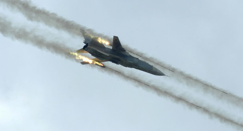 A Russian Sukhoi Su-24 attack aircraft, similar to those used in Syria.