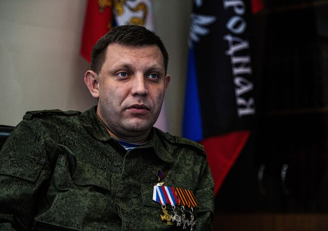 Alexander Zakharchenko, head of the self-proclaimed Donetsk People's Republic (DNR), speaks during an interview at his office in the eastern Ukrainian city of Donetsk on April 8, 2015