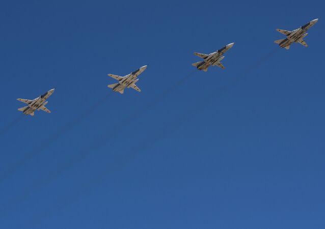 Combat jet fighter Sukhoi 24 aircraft