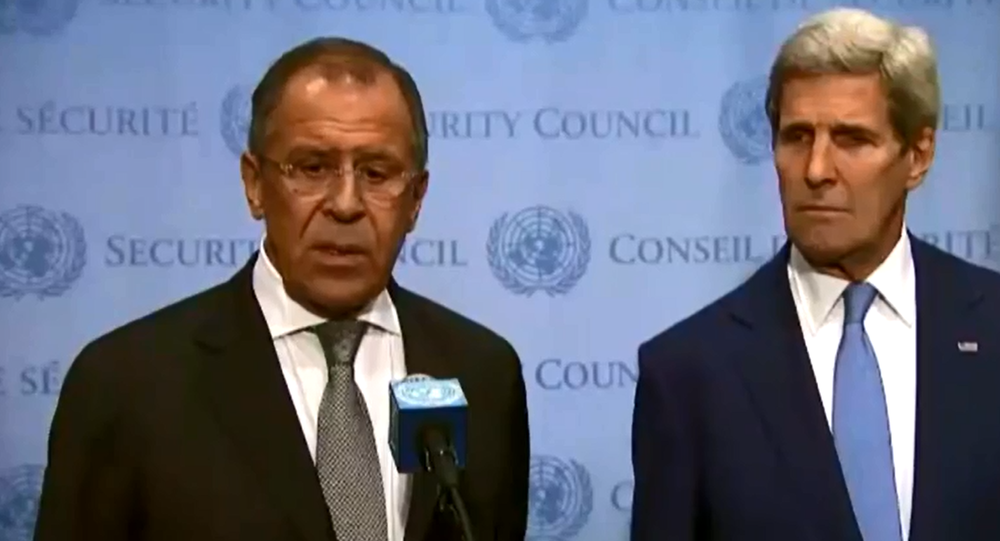 Lavrov, Kerry address media after discussions at United Nations