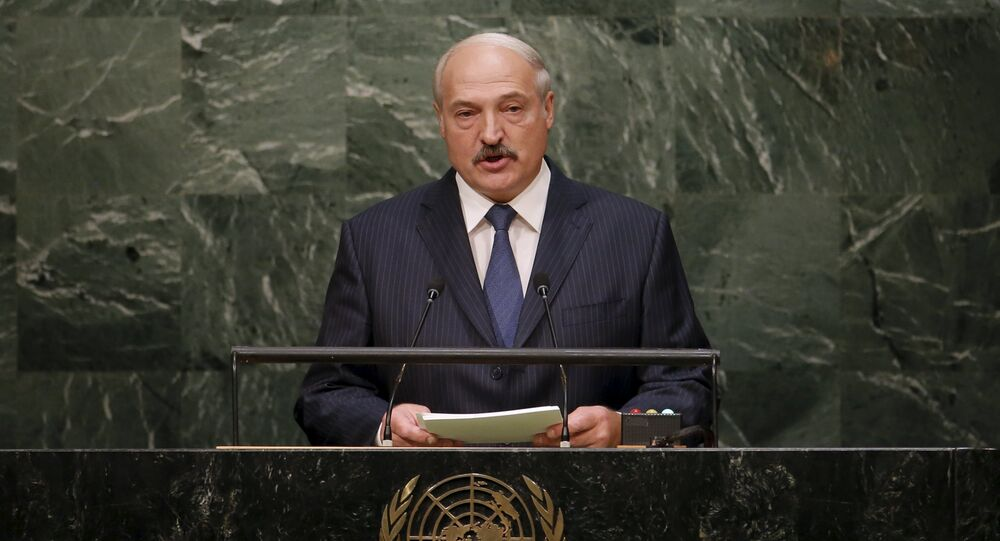 Belarus' President Alexander Lukashenko addresses a plenary meeting of the United Nations Sustainable Development Summit 2015 at the United Nations headquarters in Manhattan, New York