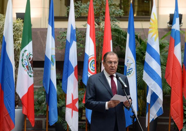 Russian Foreign Minister Sergey Lavrov speaks at the event marking the 70th anniversary of diplomatic relations between Russia and Latin American nations