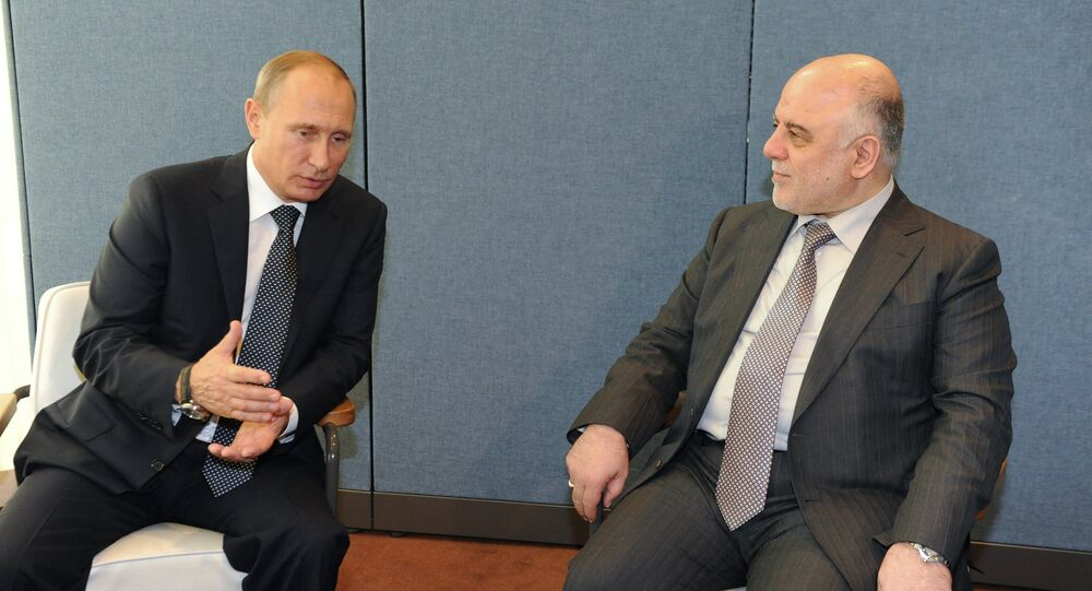 President of Russia Vladimir Putin and Prime Minister of Iraq Haider al-Abadi during their meeting held as part of the 70th session of the UN General Assembly in New York.
