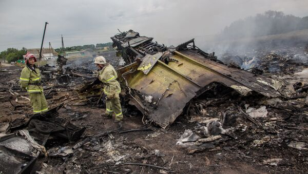 Rescuers seen at the site of the MH17 plane crash in Ukraine. File photo - Sputnik International