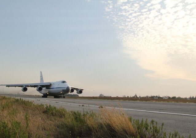 Russian transport plane Ruslan flies up at the Hmeymim base in Syria