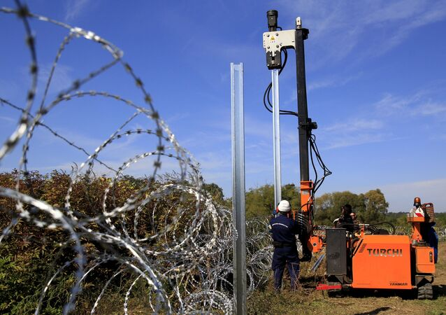 Hungarian army soldiers erect a fence on the border with Croatia near Zakany, Hungary, October 1, 2015.