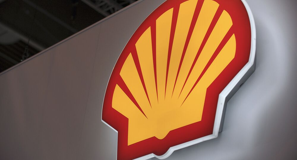A picture shows the logo of Anglo-Dutch oil giant Shell