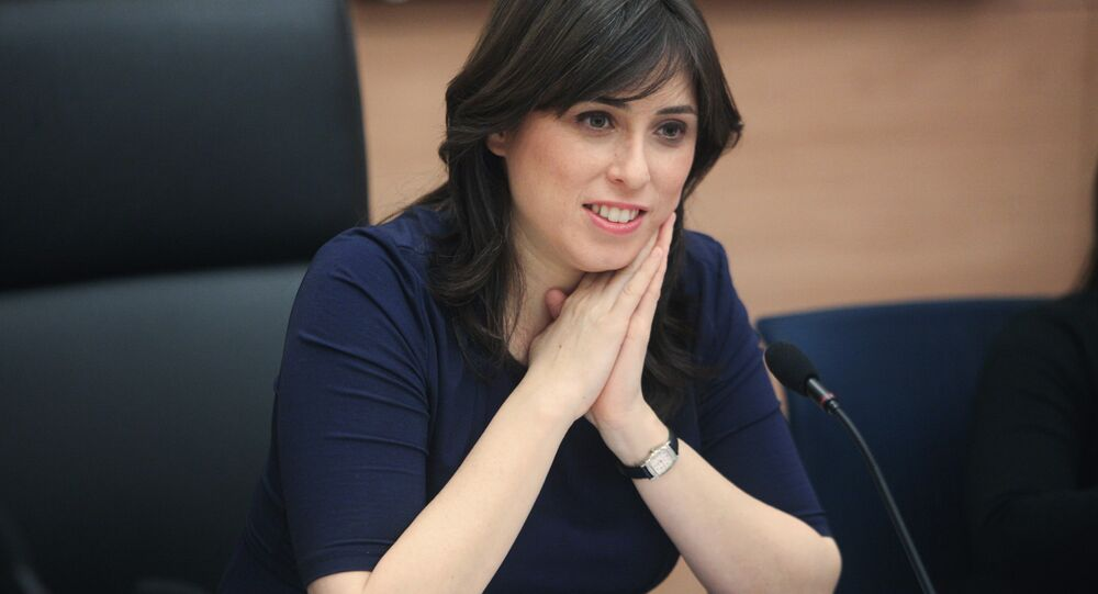 Tzipi Hotovely sits in the Knesset, Israel's parliament, in Jerusalem.