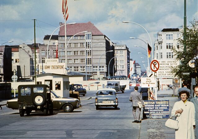 Picture taken in June 1968 of the famous Checkpoint Charlie crossing point, marking the border between East (Soviet sector) and West Berlin (American sector)