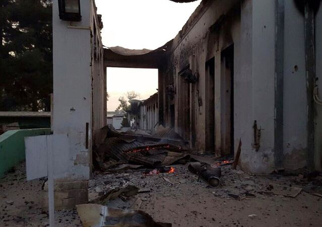 The burnt Doctors Without Borders hospital is seen after an explosion in the northern Afghan city of Kunduz, Saturday, Oct. 3, 2015.