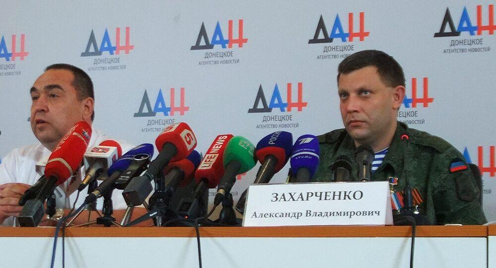 Joint briefing of DPR Head Alexander Zakharchenko (right) and LPR Head Igor Plotnitsky (left)