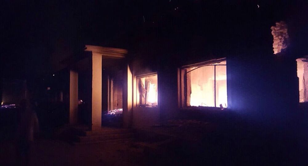 The Doctors Without Borders trauma center is seen in flames, after explosions near their hospital in the northern Afghan city of Kunduz