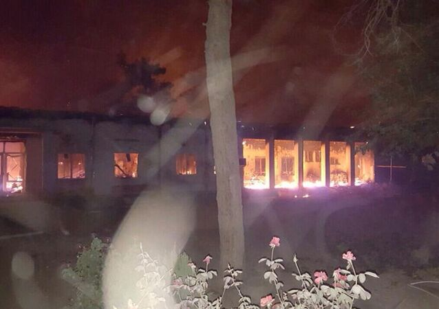 The Doctors Without Borders hospital is seen in flames, after explosions in the northern Afghan city of Kunduz, Saturday, Oct. 3, 2015