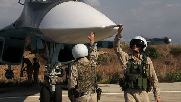 Russian pilots of the Su-34 at the Hmeimim base in Syria. - Sputnik International