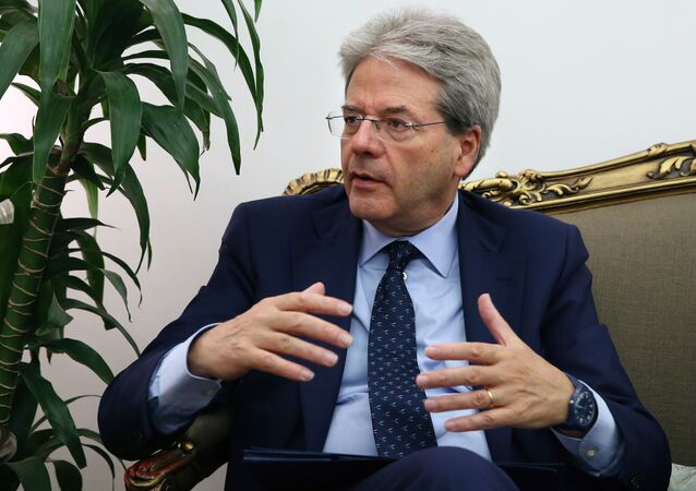 Italian Foreign Minister Paolo Gentiloni speaks during his meeting with Lebanese Foreign Minister Gebran Bassil at the Lebanese foreign ministry in Beirut, Lebanon, Tuesday, July 14, 2015