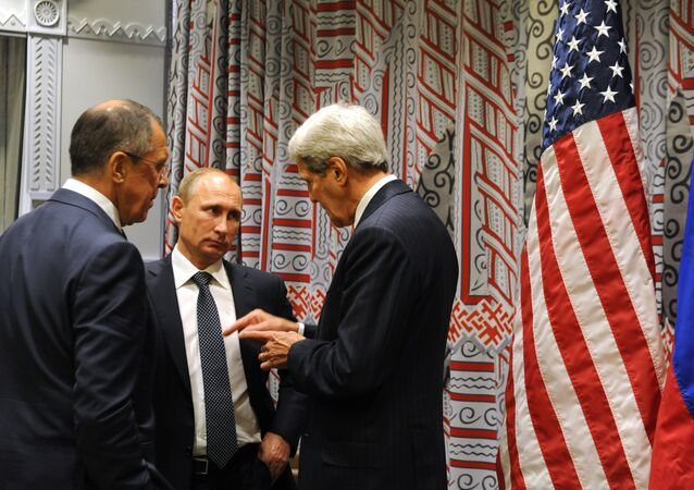 President Vladimir Putin and Foreign Minister Sergei Lavrov speak with Secretary of State John Kerry attends at the 70th UN General Assembly session