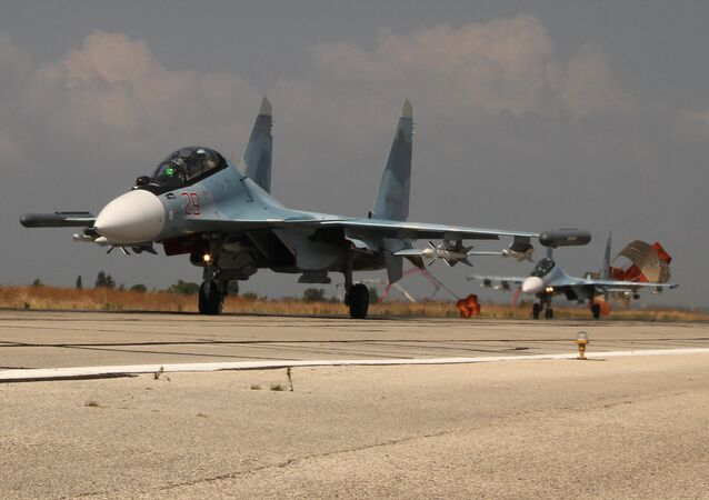 Russian war planes at Hmeimim base in Syria