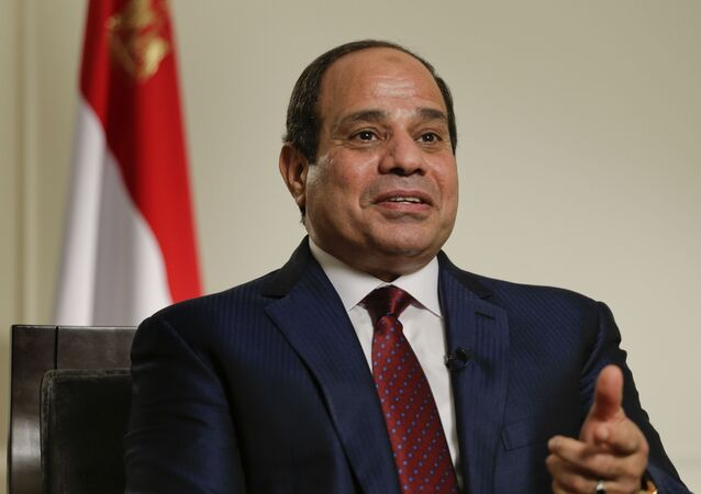 Egyptian President Abdel Fattah el-Sisi answers questions during an interview, Saturday, Sept. 26, 2015, in New York