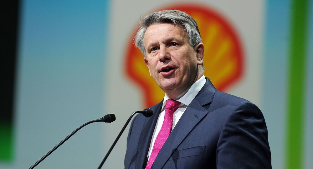 Royal Dutch Shell CEO Ben Van Beurden addresses a keynote speech during the World Gas Conference in Paris on June 2, 2015