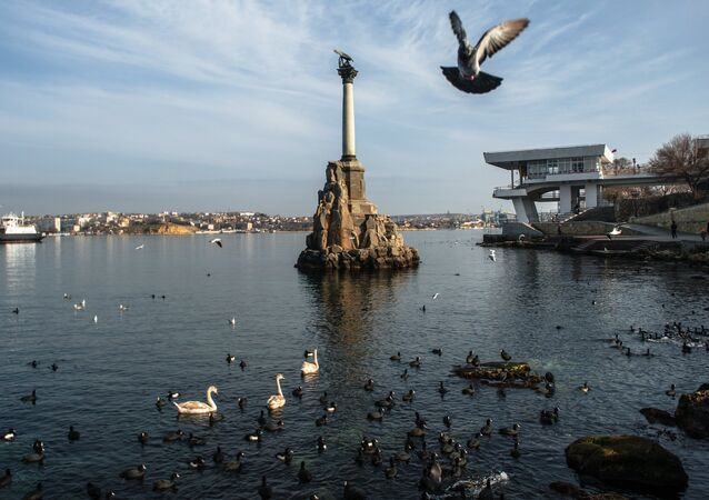 View of the monument to sunken ships in Sevastopol
