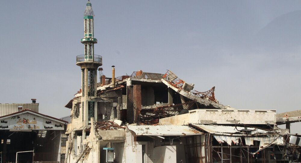 A mosque destroyed as a result of the hostilities in Homs, Syria