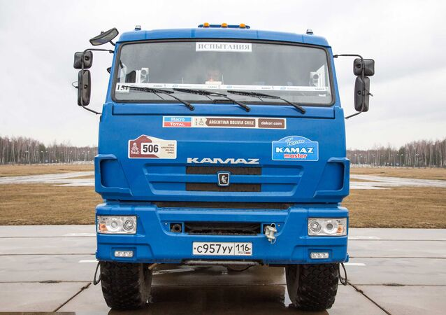 One of the Kamaz trucks used to test the new unmanned truck's sensor equipment.